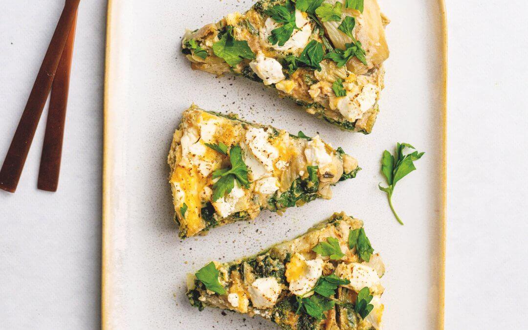 Vegabijbel: Frittata met spinazie, venkel en geitenkaas