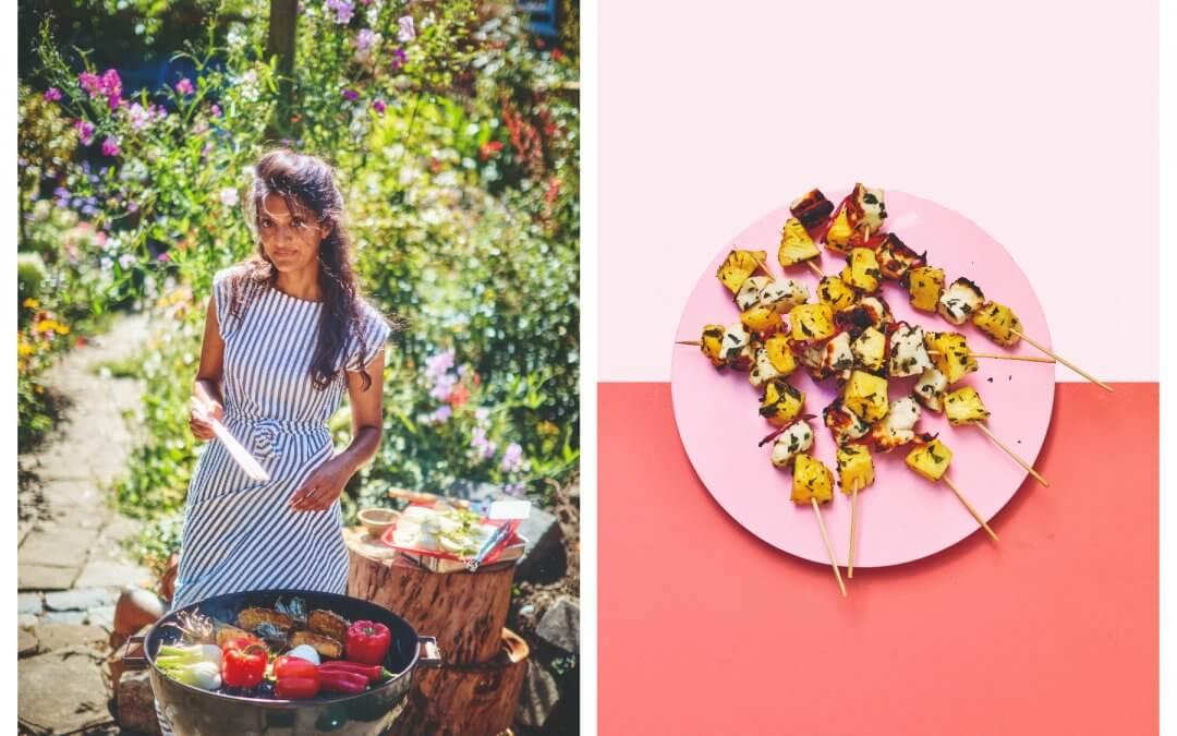 De groene barbecue: Ananas-halloumispiesjes met chilipeper & verse munt
