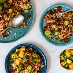 Mexicaanse rijstsalade met Pulled Oats Tex Mex en mango salsa