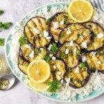 Greek style barbecue aubergine met feta